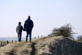 Father And Son Walking On A Mountain